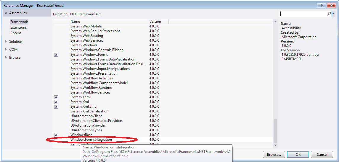 Hosting a Windows Forms Control in WPF